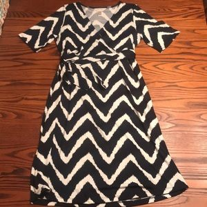 Navy Blue and White Chevron Maternity dress